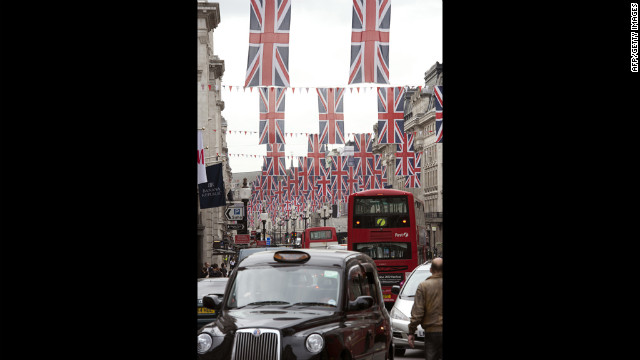 Union Jacks line a street in preparation for the Diamon Jubilee.