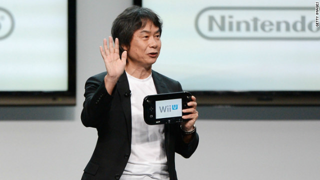 Nintendo producer Shigeru Miyamoto discusses the Wii U at a press conference Tuesday in Los Angeles.
