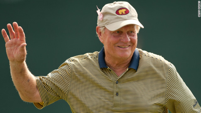 Jack Nicklaus acknowledges the gallery at the eighteenth hole during an exhibition round at the the Insperity Championship at The Woodlands Country Club on May 5, 2012 in The Woodlands, Texas