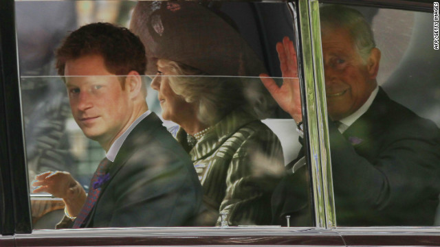 Prince Harry, Camilla, Duchess of Cornwall and Prince Charles, Prince of Wales, drive to St. Paul's Cathedral for the service on June 5, 2012.