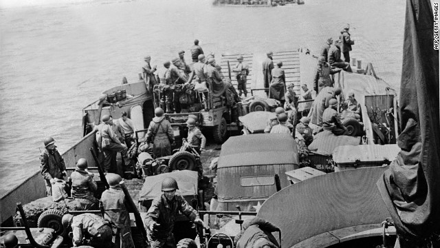 U.S. troops and vehicles are ready to disembark during the battle. D-Day was one of history's most consequential and gut-wrenching battles.