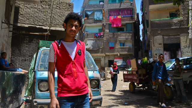 Khaled Gamal, 18, lives in Manshiyat Nasr, one of the poorest neighborhoods in Cairo, Egypt. He joined in some of the protests last year in Tahrir Square but says he couldn't afford to miss work too often to protest.