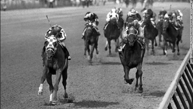 Secretariat, left, heads to victory with jockey Ron Turcotte at the Kentucky Derby in 1973. Considered by many to be the greatest racehorse of all time, Secretariat still holds the record for the fastest times in all three Triple Crown races. He won the Belmont Stakes by an astounding 31 lengths.