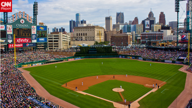 Comerica Park, home of the Detroit Tigers, looks out on the Detroit skyline.