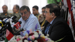 U.S. Defense Secretary Leon Panetta met Thursday with Afghan Defense Minister Gen. Abdul Rahim Wardak.