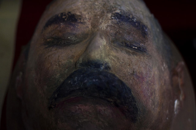 A replica of the death mask made from Pacho Villa's face is on display at a museum in Columbus.
