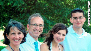 This family photo shows Nathaniel, far right, with his mother Judy, father Denis and sister Carrie.