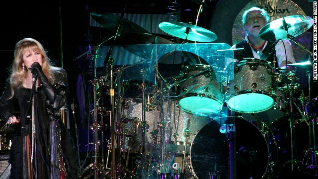 Stevie Nicks and Mick Fleetwood play at Wembley Arena in 2009. 