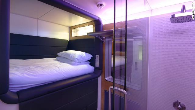 A new breed of short-stay, pay-by-the-hour micro-hotels popping up in airport terminals around the world. Pictured is a Yotel premium cabin. Yotel operates in London's Heathrow and Gatwick, and Amsterdam's Schiphol airports.<br/><br/>