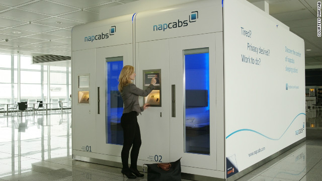 Six Napcabs are currently in operation in Munich airport, with more on the way shortly. They contain a bed, desk, air conditioning, internet access and a TV.