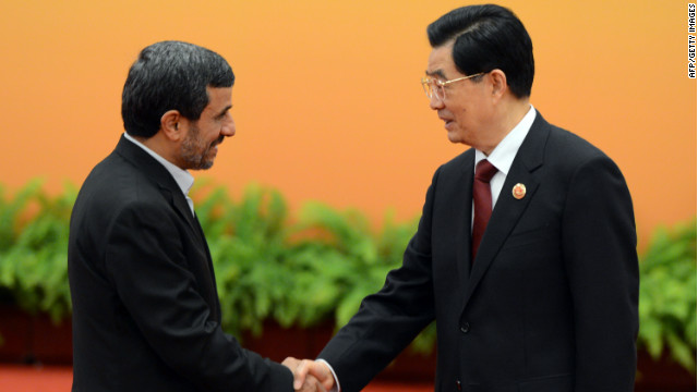 Hu Jintao, right, and Mahmoud Ahmadinejad at the Shanghai Cooperation Organization summit in Beijing on Thursday.