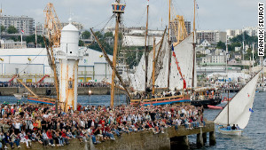 Crowds gather around the harbor at the last Brest sailing festival in 2008