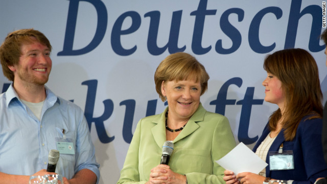 German Chancellor Angela Merkel talks with students during a discussion about Germany's future on June 6 in Berlin.