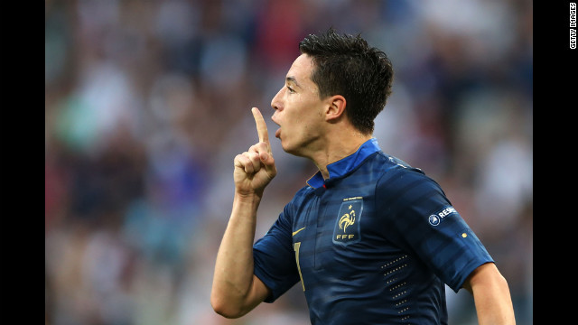 Samir Nasri of France celebrates his goal against England.