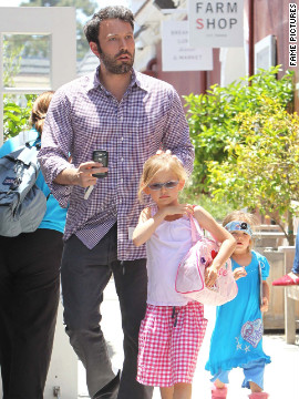 Ben Affleck takes his daughters shopping in Santa Monica.