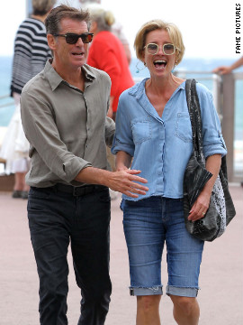 "Pierce Brosnan and Emma Thompson have lunch while filming ""Love Punch"" in Cannes, France."