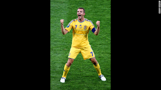 Ukraine was the co-host of Euro 2012, the largest international sporting event to take place in the country. <br/><br/>Pictured: Andriy Shevchenko of Ukraine reacts to scoring the team's second goal during the Group D match against Sweden in Kiev, Ukraine, on Monday, June 11.