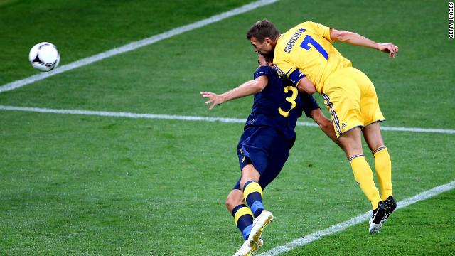Andrei Shevchenko scores Ukraine's first goal against Sweden.