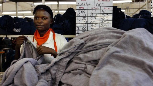 A worker in the Tristar Textile factory in Kampala, Uganda.