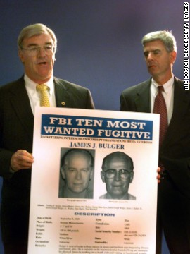 Special agent Barry Mawn and U.S. Attorney General Donald Stern hold a press conference naming Whitey Bulger to the FBI's Most Wanted List in August, 1999. After more than 16 years on the run, Bulger and Greig were captured in California.