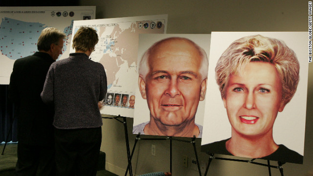 Illustrations of Bulger and Greig were on display at a press conference in 2004.