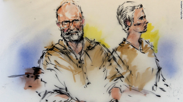 Bulger and Greig are shown during their arraignment in this courtroom sketch.