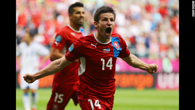 Pilar of the Czech Republic celebrates scoring the team's second goal against Greece.