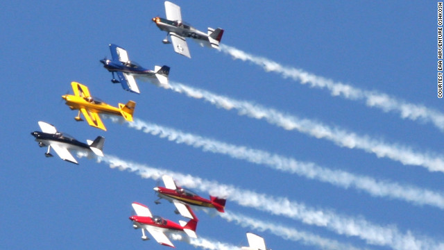 The Team RV aerobatic squadron is slated to perform at this July's Oshkosh airshow. Team RV's homebuilt aircraft -- designed by Richard VanGrunsven -- perform at speeds over 200 mph while pulling g-forces up to 6 times normal gravity.