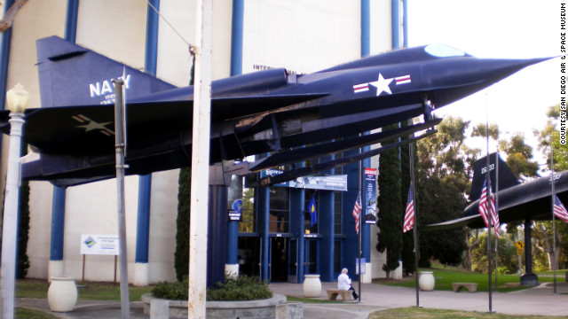 "Welcoming visitors to the San Diego Air & Space Museum is the U.S. Navy's Sea Dart. It was designed as ""the first combat-type plane equipped with retractable hydro-skis, the first delta-winged seaplane, and the first supersonic seaplane in the world,"" according to the museum."