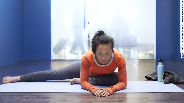 Harried travelers can practice their sun salutations at the new yoga room at San Francisco International Airport.