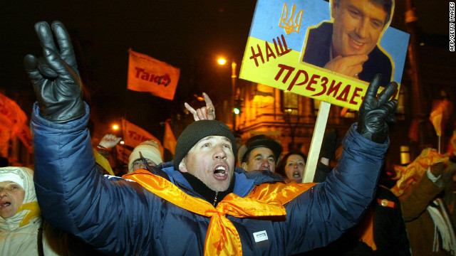 A peaceful, mass protest known as the Orange Revolution broke out in 2004 after questions were raised about the recent presidential election. &lt;br/&gt;&lt;br/&gt;It led to the result being overturned and in the subsequent internationally-monitored election, Viktor Yushchenko was declared the winner. &lt;br/&gt;&lt;br/&gt;In 2010 Viktor Yanukovych - Yushchenko's rival in 2004 - was elected president. &lt;br/&gt;&lt;br/&gt;