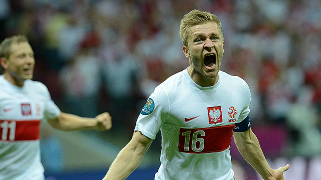 Polish midfielder Jakub Blaszczykowski celebrates after scoring a sensational equaliser against Russia