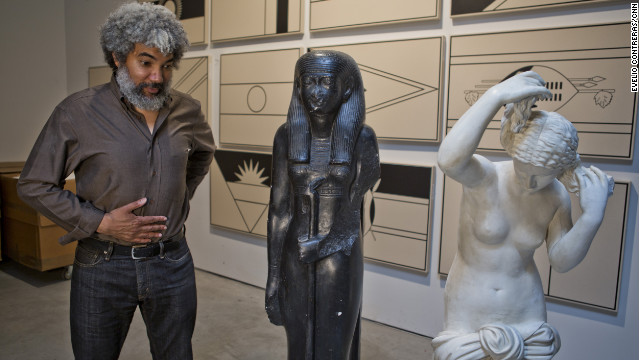 Fred Wilson likes to juxtapose art from different eras, as he's done here with these statues in his New York studio.