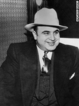 Al Capone, or Scarface as he was popularly known, stays one of America's many scandalous gangsters. Known for wearing tradition suits, fedoras and spats, Capone was barbarous in 1920s Chicago for his piracy and racketeering activities. Capone died in 1947.