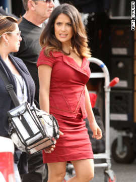 "Salma Hayek films ""Grown Ups 2"" in Marblehead, Massachusetts."