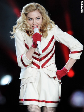 Madonna performs in Rome, Italy.