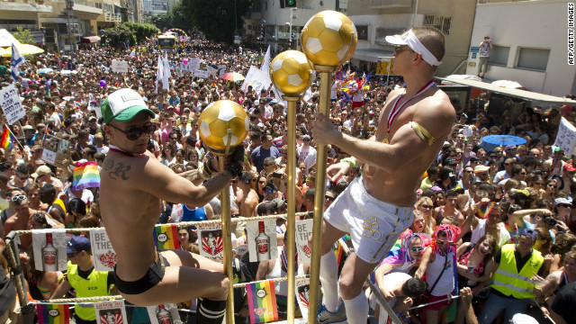 Partygoers pack the streets during Tel Aviv's annual gay pride parade