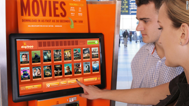 At Digiboo kiosks, travelers can download, via flash drive, digital versions of more than 500 movies that they can then watch on their laptop or tablet while in-flight or just hanging around the terminal.