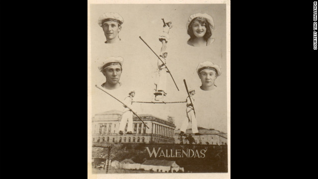 A promotional poster shows the orginal performers who came to America in 1928. Clockwise from top left are Karl Wallenda, Helen Wallenda, Joe Geiger and Herman Wallenda.