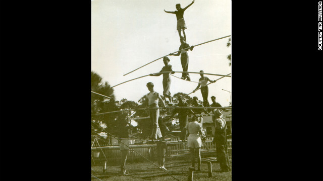 The Wallendas practice an eight-person pyramid in 1947. This version was never performed in a show.