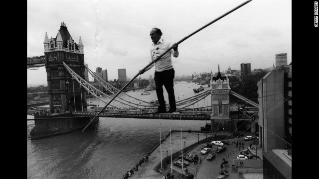 Karl Wallenda walks a tightrope between two corners of the Tower Hotel in London in 1976. Two years later, Wallenda died during a similar walk between two towers of the Condado Plaza Hotel in San Juan, Puerto Rico. He was 73.