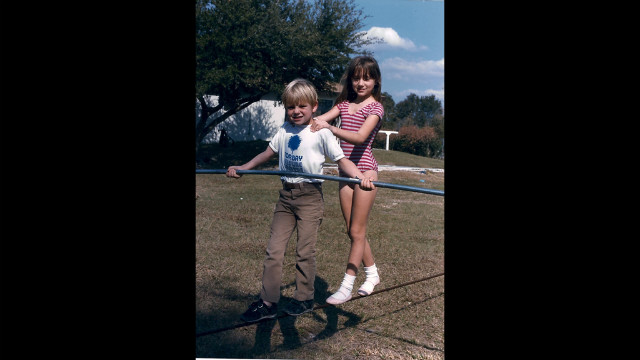 Nik Wallenda and his sister, Lijana, practice walking the wire.