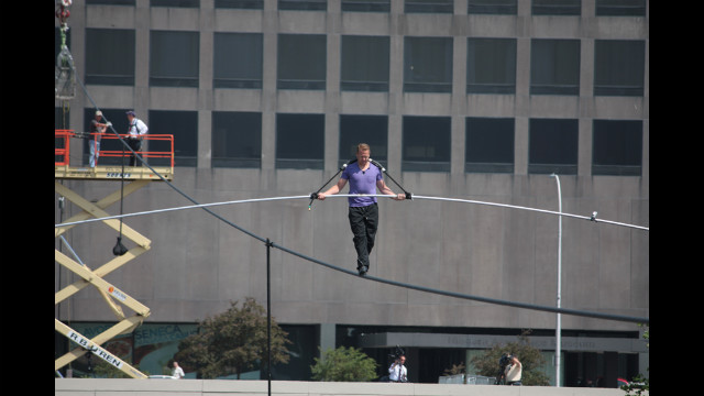 Nik Wallenda rehearses for his attempt to cross Niagara Falls on a wire in the parking lot of the Seneca Niagara Casino in Niagara Falls, New York.