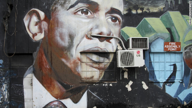 U.S. President Barack Obama is another of the group's non-corruption paintings.