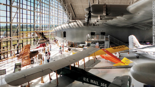 The media nicknamed it the Spruce Goose because it's made of wood. But this seaplane with the wingspan of a football field was orginially called the HK-1 and then later the H-4 Hercules when it was developed in the 1940s. It's now living at the <a href='http://www.evergreenmuseum.org/' target='_blank'>Evergreen Aviation & Space Museum</a> in McMinnville, Oregon.