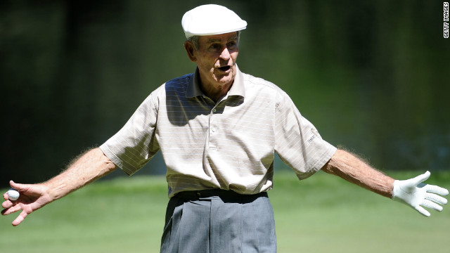 Jack Fleck, pictured here during the Masters' par-three in 2011, caused a big shock back in 1955. He snatched the U.S. Open title from Ben Hogan -- who had been congratulated on his apparent triumph by a TV commentator before his little-known rival forced a playoff and won it.