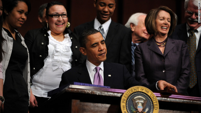 President Barack Obama signs his 2010 health care legislation, which Sandra Fluke thinks would be disastrous to lose.