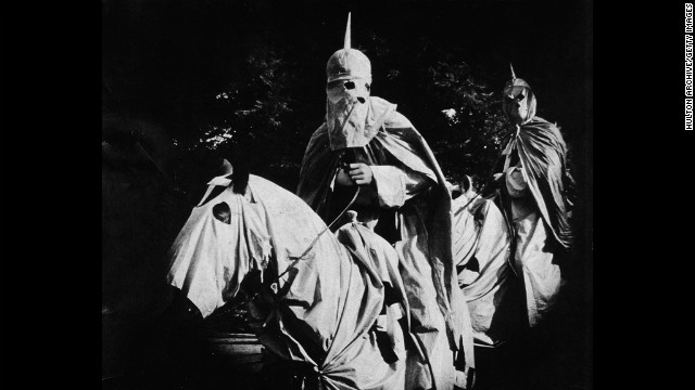 Actors in the silent film &quot;The Birth of a Nation,&quot; released in 1915, portrayed Ku Klux Klan members dressed in full regalia and riding horses.