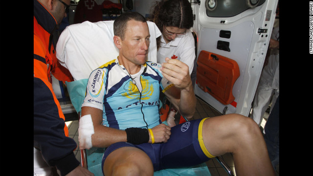 In 2009, Armstrong suffers a broken collarbone after falling during a race in Spain along with more than a dozen other riders.
