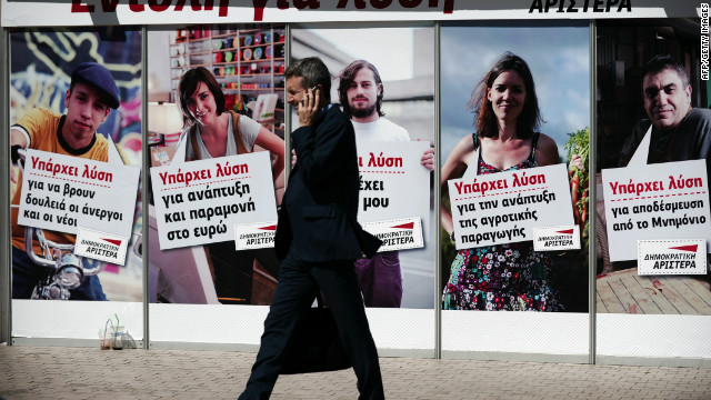 Democratic Left election campaign posters line the streets of Athens on June 7, 2012. Greece pushed through a huge debt swap in March to save it from disorderly default and clear the way to receive its second bailout, worth 130 billion ($171.5 billion). Europe will be watching closely when the debt-ridden country takes to the polls later this month. 